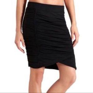 Athleta Black Twisted Ruched Midi Skirt